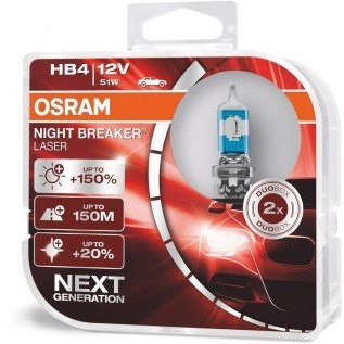 Osram Night breaker Laser +150% HB4 - 51W - 1 Sæt